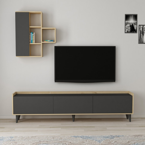 Etna Dark Grey And Oak Tv Unit With Wall Shelves