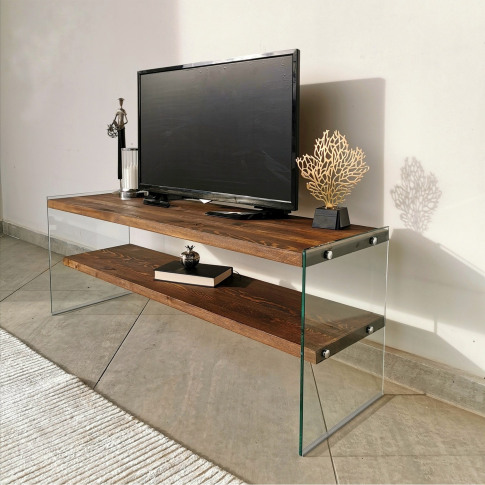 Walnut And Glass Tv Stand