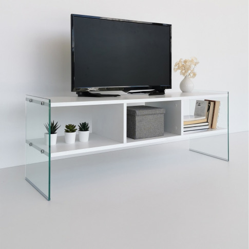 White And Glass Tv Stand