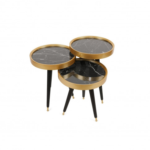 Gold And Black Marble Effect Nesting Side Tables - Alys