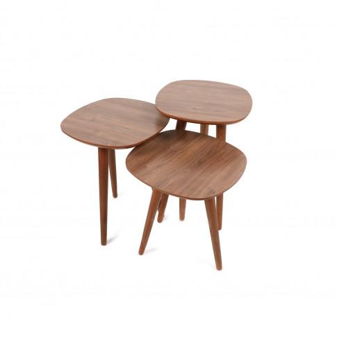 Walnut Effect Nesting Side Tables - Alys