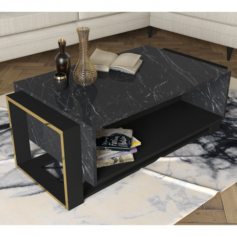 Bianco Marble Coffee Table With Gold Detailing