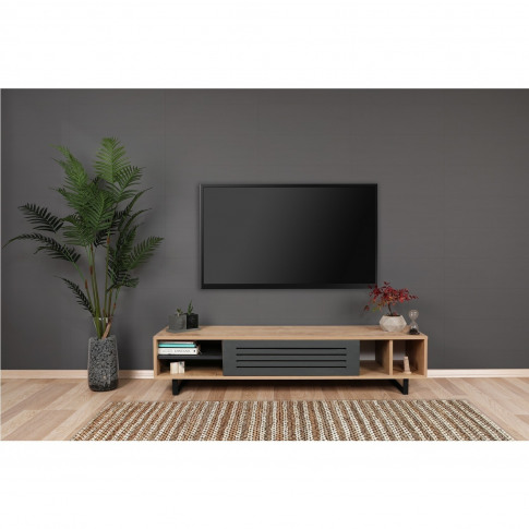 Safir Oak And Dark Grey Tv Stand