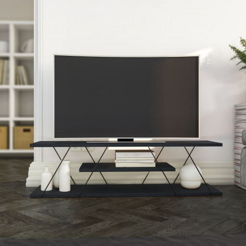 Canaz Minimalist Tv Stand In Anthracite Grey