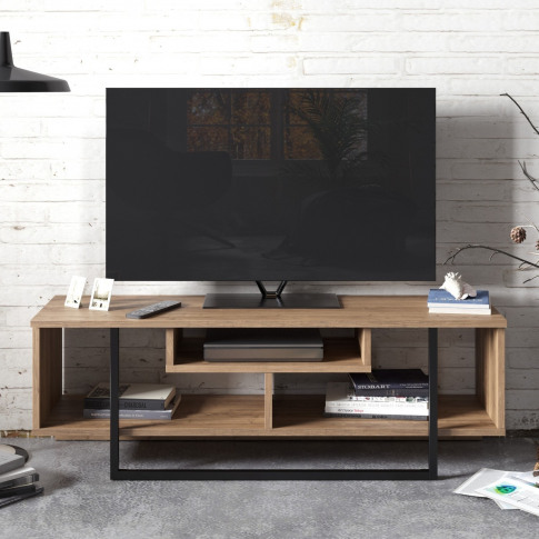 Asal Geometric Tv Stand In Walnut And Black