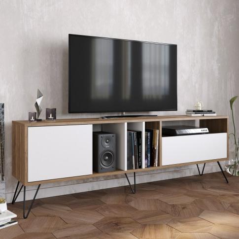 Mistico Tv Stand In Walnut & White