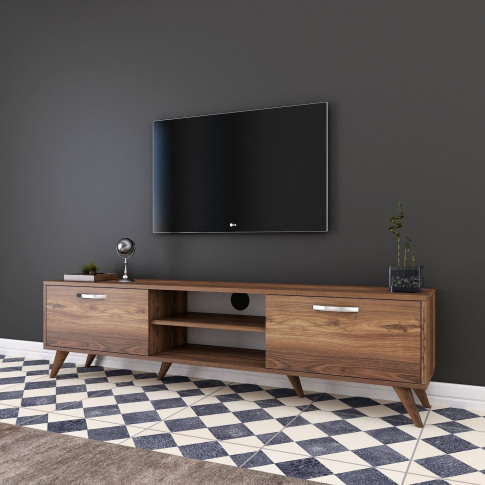 Walnut Tv Unit With Silver Details