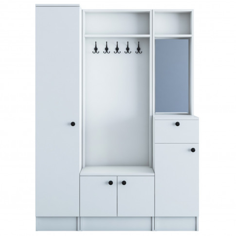 White Hall Storage Unit With Mirror Shoe Storage & C...