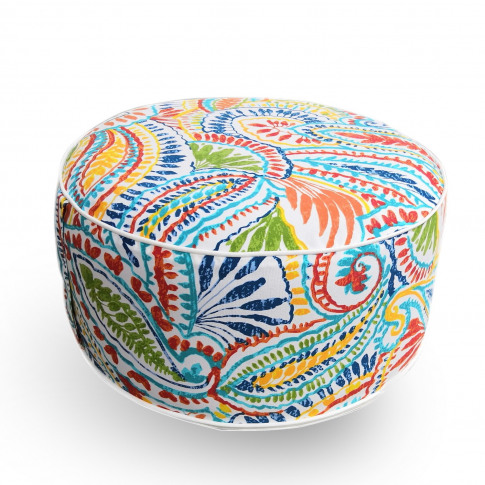 Outdoor Pouffe With Multi Paisley Print - Inflatable