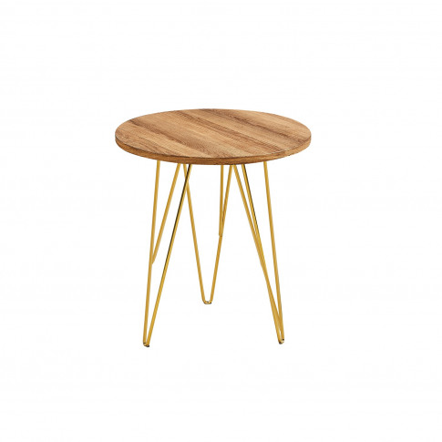 Lpd Fusion Lamp Table In Wood Effect With Gold Legs