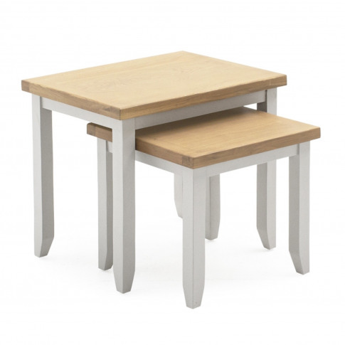 Solid Oak & Grey Painted Side Tables - Set Of 2 Squa...