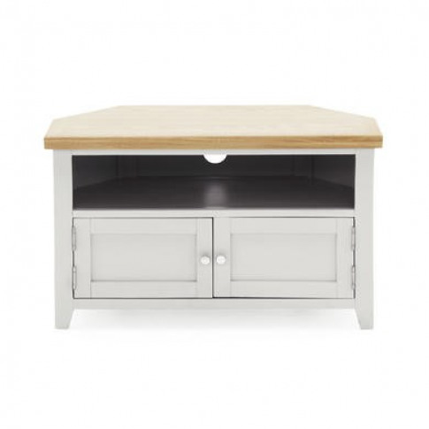 Ferndale Grey & Solid Oak Corner Tv Unit - Tv's Up T...