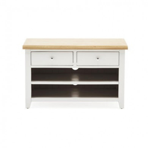 Ferndale Grey & Solid Oak Small Tv Unit - Tv's Up To 35