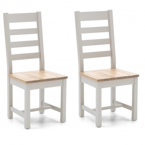 Ferndale Two Tone Solid Oak Dining Chairs With Ladde...