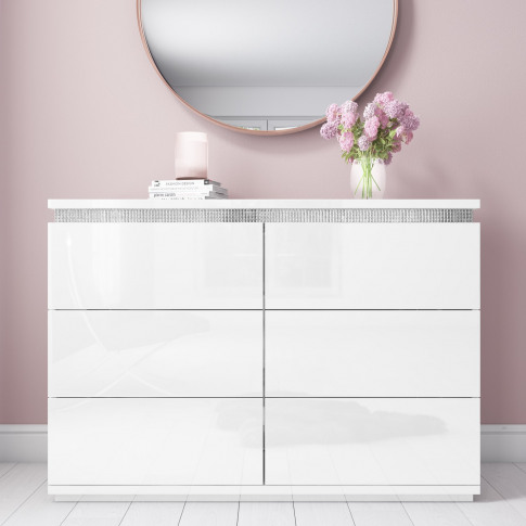 Gabriella White Gloss Chest Of Drawers With Diamante...