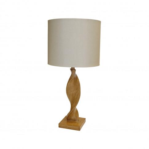 Table Lamp With Cream Linen Shade & Oak Base - Argenta