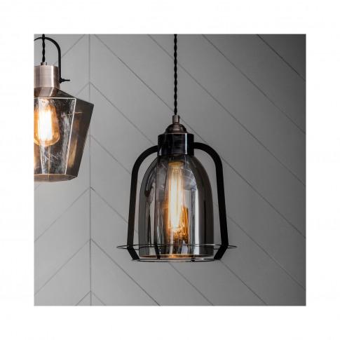Copper Pendant Light In Glass & Steel - Aykley