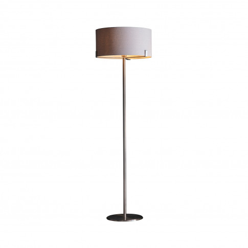 Floor Lamp With Grey Shade & Satin Nickel Base - Evelyn