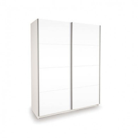 High Gloss Sliding White Wardrobe - Evana