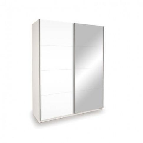 High Gloss Mirrored 2 Door Sliding White Wardrobe - Evana