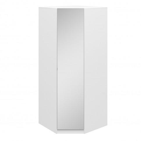 1 Door White Mirrored Corner Wardrobe - Aspen