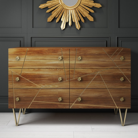 Halo 6 Drawer Chest Of Drawers With Brass Inlay In Natural Honey