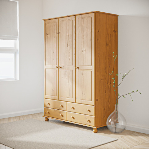 Hamilton 3 Door 4 Drawer Wardrobe In Pine