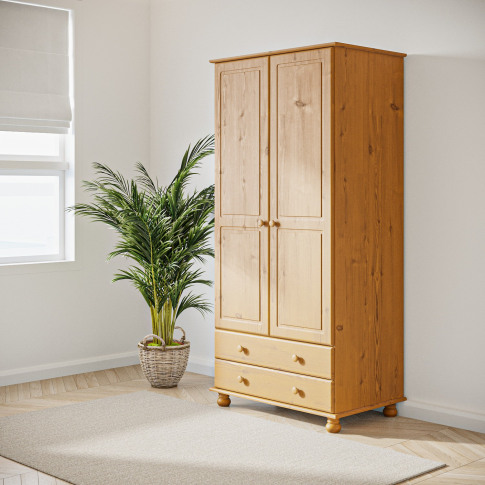 Hamilton 2 Door 2 Drawer Wardrobe In Pine