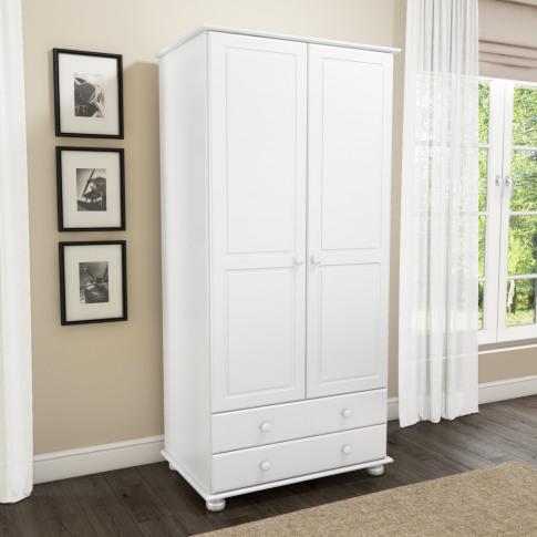 Hamilton 2 Door 2 Drawer Wardrobe In White