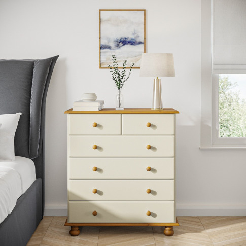 Hamilton 2+4 Chest Of Drawers In Cream And Pine