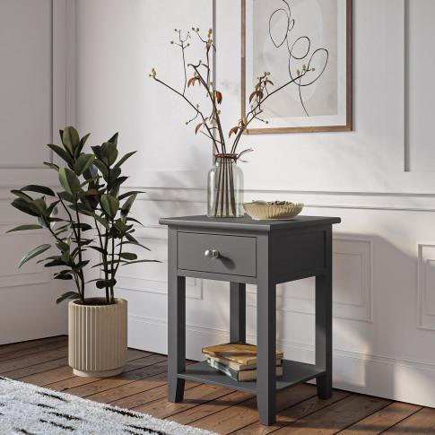 Harper Grey Solid Wood 1 Drawer Bedside Table