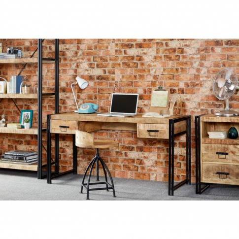 Industrial Home Office Desk With Storage Drawers - C...