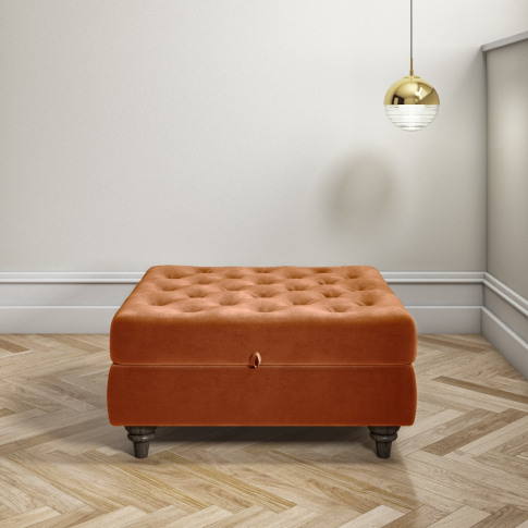 Orange Ottoman Storage Footstool - Buttoned - Inez