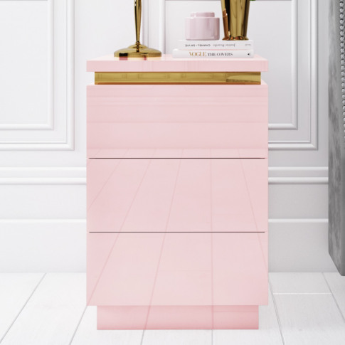 Isabella Pink Gloss 3 Drawer Bedside Table With Gold...