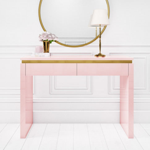 Isabella Pink Gloss 2 Drawer Dressing Table With Gol...