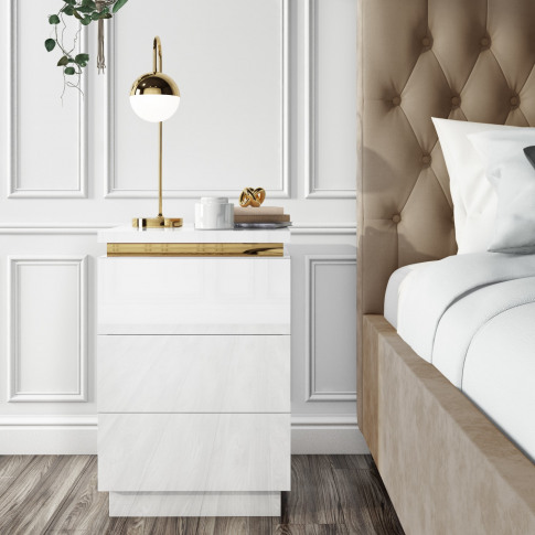 Isabella White Gloss 3 Drawer Bedside Table With Gol...