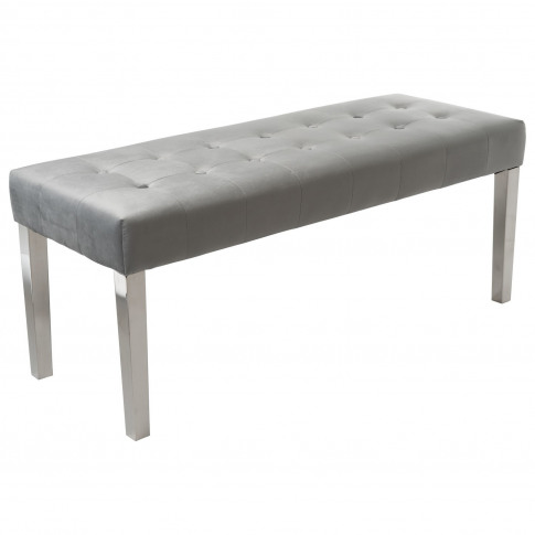 Grey Velvet Dining Bench With Chrome Legs - Jade Bou...