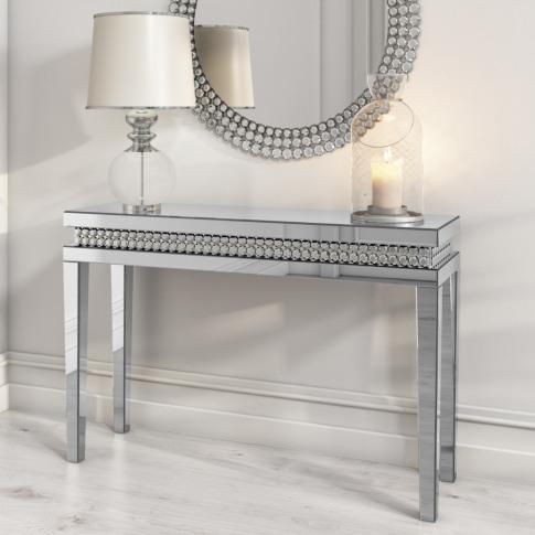 Narrow Mirrored Console Table With Diamond Gems - Ja...