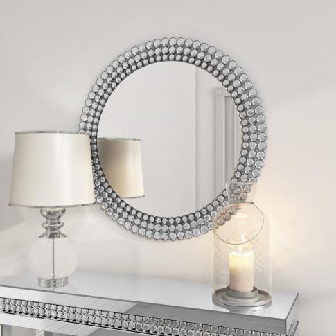 Silver Diamond Round Wall Mirror - Jade Boutique