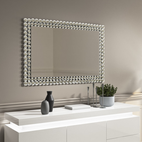 Silver Diamond Gem Rectangle Wall Mirror - Jade Boutique