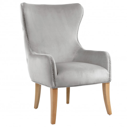 Grey Velvet Wingback Armchair With Button Detail - J...
