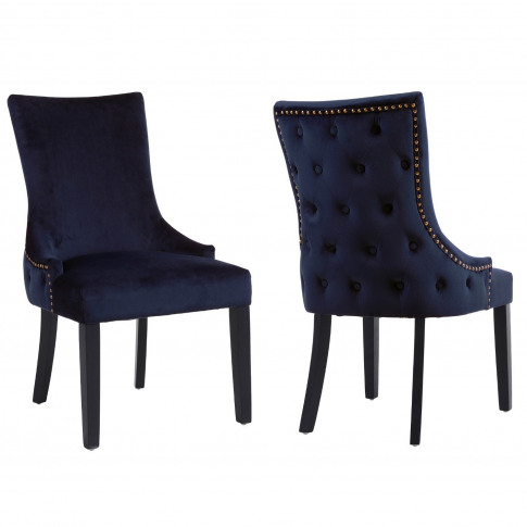 Pair Of Navy Blue Velvet Dining Chairs With Buttoned...