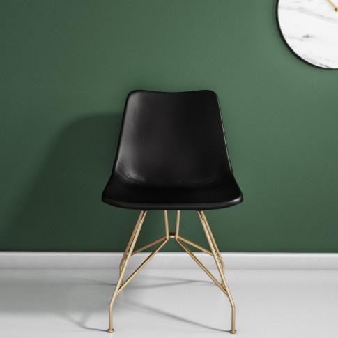 Swivel Office Chair In Black Leather & Gold - Jaxon
