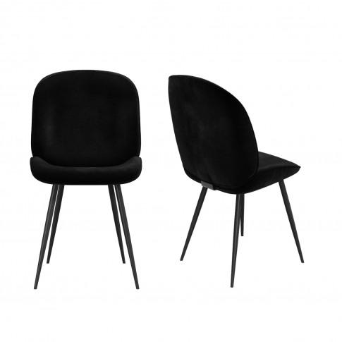 Set Of 2 Black Velvet Dining Chairs With Black Legs ...