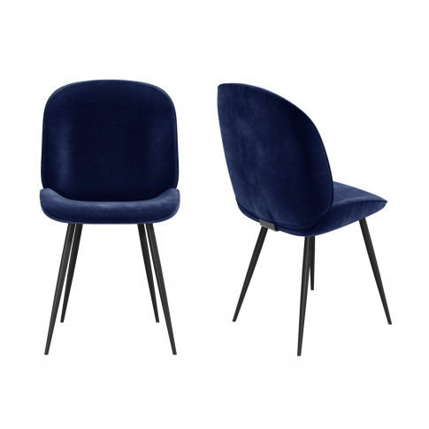 Set Of 2 Navy Blue Velvet Dining Chairs With Black L...