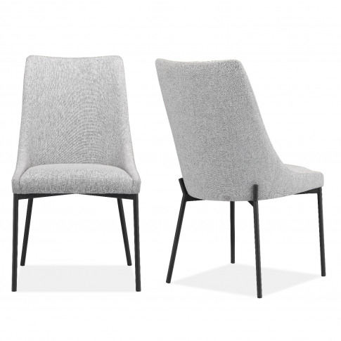 Pair Of Light Grey Fabric Dining Chairs - Modern - C...