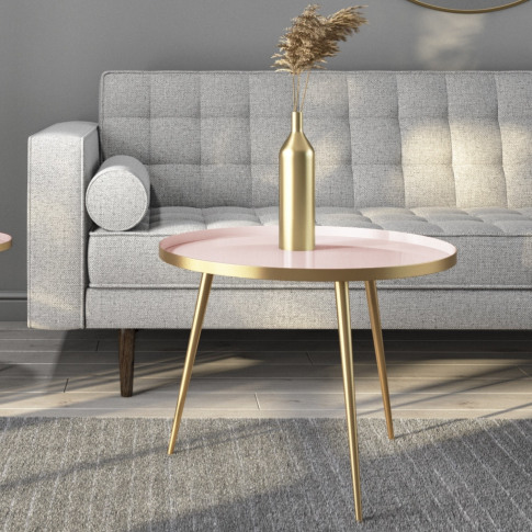 Gold & Pink Round Coffee Table - Kaisa