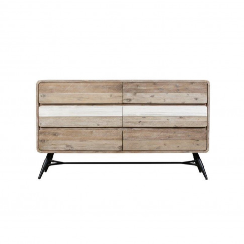 Large Sideboard In Reclaimed Solid Wood With Black M...