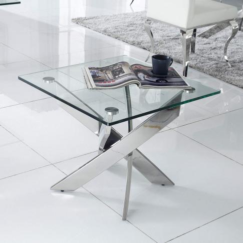 Glass Side Table With Chrome Base - Vida Living Kalmar