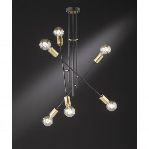 Wofi Small 6 Light Semi- Flush Ceiling Light In Blac...